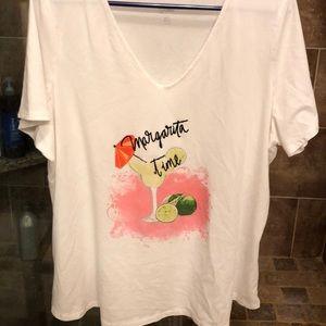 EUC Avenue White S/S Margarita Time shirt.